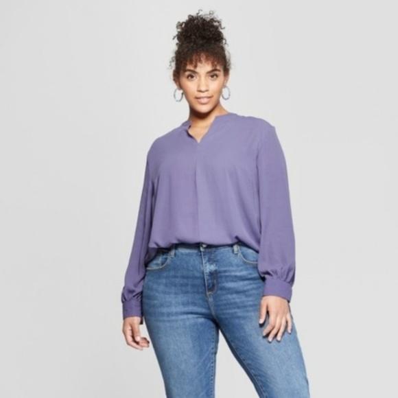 25b1536e1 Ava & Viv Tops | Womens Purple Plus Size Popover Long Sleeve Shirt ...